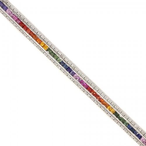 White Gold Diamond Rainbow Bracelet